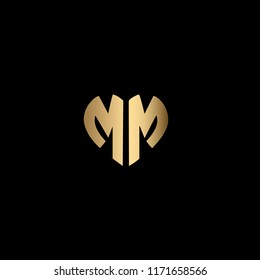 Modern , Clean and Minimal Heart Shaped Letter M or Letter MM Initial Based Iconic Logo Design
