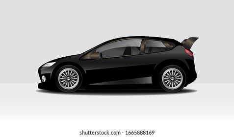 Modern clean minimalist racing, sports car mock up design,  isolated on a white background vector illustration