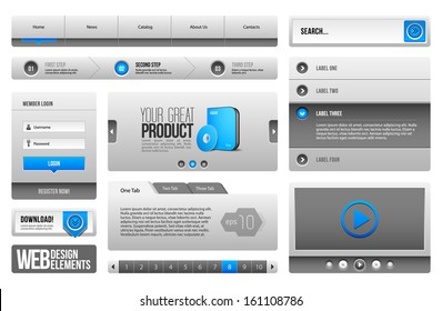 Modern Clean Website Design Elements Grey Blue Gray 3: Buttons, Form, Slider, Scroll, Carousel, Icons, Menu, Navigation Bar, Download, Pagination, Video, Player, Tab, Accordion, Search