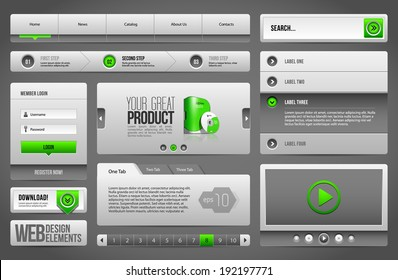 Modern Clean Website Design Elements Grey Green Gray: Buttons, Form, Slider, Scroll, Carousel, Icons, Menu, Navigation Bar, Download, Pagination, Video, Player, Tab, Accordion, Search
