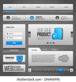 Modern Clean Website Design Elements Grey Blue Gray: Buttons, Form, Slider, Scroll, Carousel, Icons, Tab, Menu, Navigation Bar, Download, Pagination