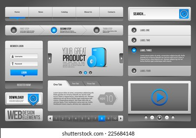 Modern Clean Website Design Elements Grey Blue Gray: Buttons, Form, Slider, Scroll, Carousel, Icons, Menu, Navigation Bar, Download, Pagination, Video, Player, Tab, Accordion, Search