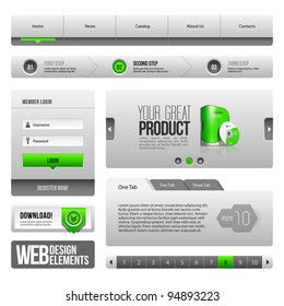 Modern Clean Website Design Elements Grey Green Gray: Buttons, Form, Slider, Scroll, Carousel, Icons, Tab, Menu, Navigation Bar, Download, Pagination