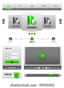 Modern Clean Website Design Elements Grey Green Gray 2: Buttons, Form, Slider, Scroll, Carousel, Icons, Menu, Navigation Bar, Download, Pagination, Video, Player