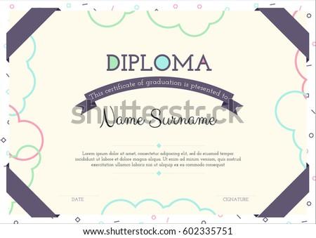 Modern Clear Certificate Graduation Template Flat Stock Vector ...