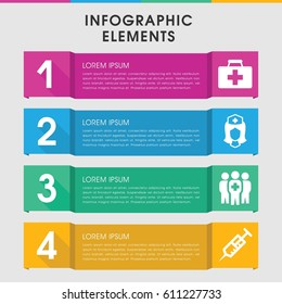 Modern clinical infographic template. infographic design with clinical icons includes first aid kit. can be used for presentation, diagram, annual report, web design.