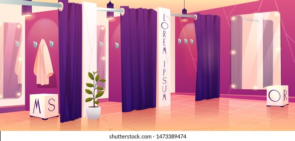 Modern clothing retail store comfortable dressing or fitting rooms row with heavy violet curtains, hanging from above lamps, full-length mirrors inside and wall hangers cartoon vector illustration