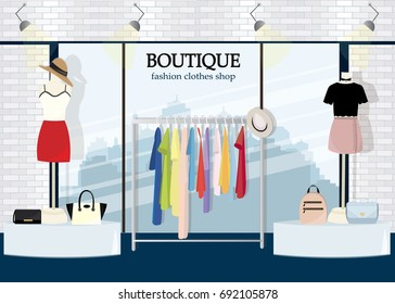 Modern clothing store interior design with a big window. Flat style vector illustration.