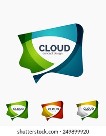 Modern cloud company logo set, made of overlapping wavy shapes