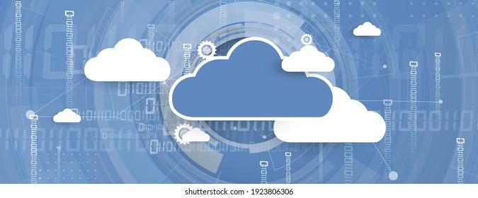 moderne Cloud-Computertechnologie. Integrierter Hintergrund für digitales Web-Konzept. Datenaustausch