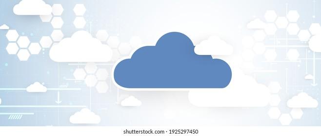 modern cloud computer technology. Integrated digital web concept background. Data exchange