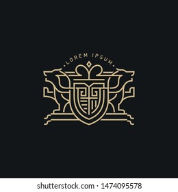 Modern Coat of Arms in Monogram Style Logo Template