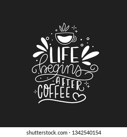 Modern coffee lettering typography. Life begins after coffee. Hand drawn lettering phrase. Modern motivating calligraphy decor. Scrapbooking or journaling card with quote.