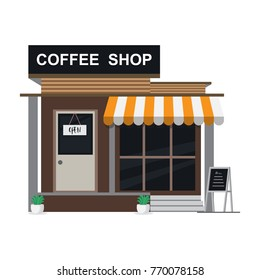 modern coffee shop building. Set of elements for construction on white background. Vector illustration flat style