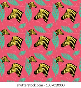 Modern coloful seamless pattern with zebras, flowers and various plants.
