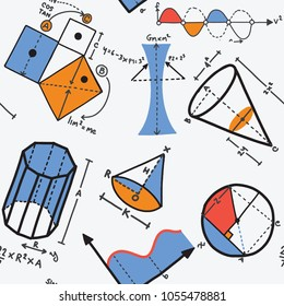 Modern color concept of mathematics for school, university and training. Vector illustration with different elements on the subject mathematics. Vector Illustration, seamless pattern