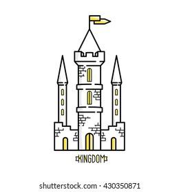 Modern color flat design linear old castle. Building medieval castle illustration.