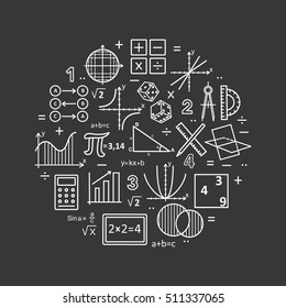 Modern color thin line concept of mathematics on a black background. Vector illustration with different elements on the subject mathematics. Logo Concepts for Trendy Designs.