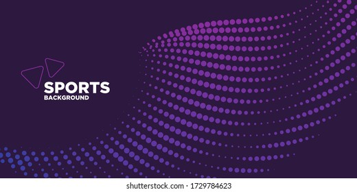 Modern colored poster for sports.  Wave with dots created using blend tool - Vector Illustration