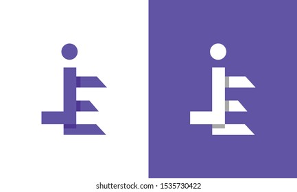 Modern colorful abstract letter JE logo. This logo icon incorporate with two abstract shape in the creative process.