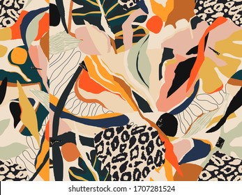 Modern colorful abstract pattern with leopard print. Creative collage contemporary seamless pattern. Fashionable template for design.