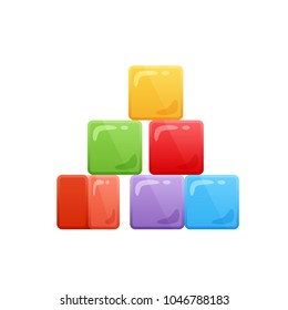Modern colorful baby cubes. Children's toy store, kindergarten, home educational games, kid's cartoon toys. Cubes with different colors. Vector illustration.