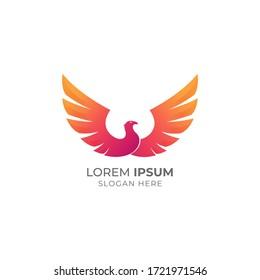 Modern colorful bird logo illustration