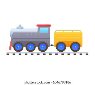 Modern colorful children's cartoon toys. Home kid's toys. A beautiful multicolored train, locomotive, passenger and cargo transportation. Educational, entertaining game. Vector illustration.