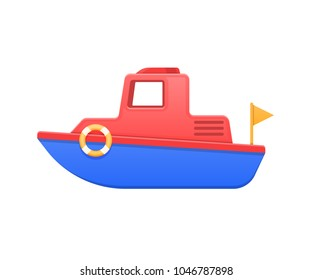 Modern colorful children's toys. Cartoon kid's toys colored boat, made of bright elements. Water vehicle. Store, kindergarten, home kids games. Educational and sports games. Vector illustration.