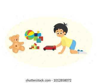 Modern colorful children's toys. Toy store, kindergarten, home kids games. Educational funny games. Kid gaming of with cute funny teddy bear. Vector flat illustration.