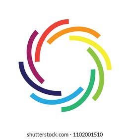 Modern Colorful Circle Lines Logo Icon Emblem