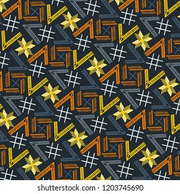 Modern colorful cool geometric repeating pattern with high contrast & unique design for creative surface designs, textiles, fabric, background, backdrop, wallpaper & template. pattern swatch at eps.