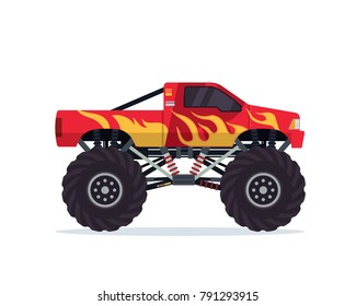 Modern Colorful Customized Monster Truck Vehicle Illustration