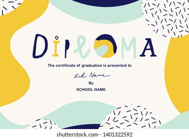 Modern colorful Diploma template for kids. Vector illustration.