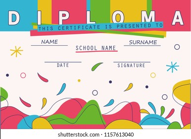 Modern colorful Diploma template. Vector illustration.