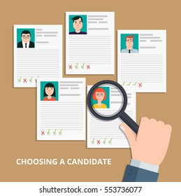 Modern colorful flat style vector illustration. HR manager looking through a magnifying glass on job candidates.Searching professional staff, analyzing personnel resume, recruitment.