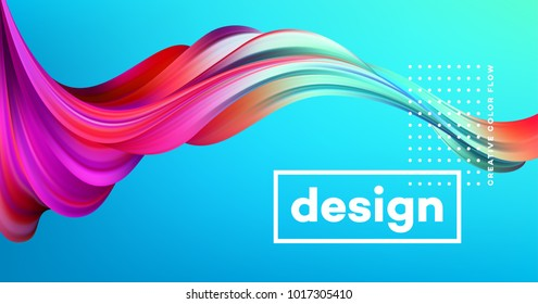Modern colorful flow poster. Wave Liquid shape in blue color background. Art design for your design project. Vector illustration EPS10