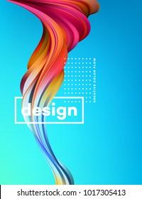 Modern colorful flow poster. Wave Liquid shape in blue color background. Art design for your design project. Vector illustration EPS10