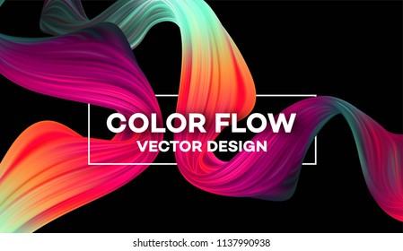 Modern colorful flow poster. Wave Liquid shape in blue color background. Art design for your project. Vector illustration EPS10