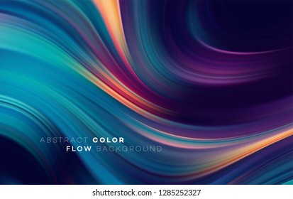 Modern colorful flow poster. Wave Liquid shape in black color background. Art design for your design project. Vector illustration EPS10