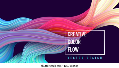 Modern colorful flow poster. Wave Liquid shape on dark blue color background. Art design for your project. Vector illustration.
