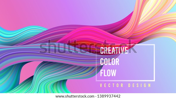 Modern colorful flow poster. Wave Liquid shape on multycolor background. Art design for your project. Vector illustration.