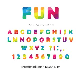 Modern colorful font. Bright ABC letters and numbers isolated on white. Trendy flexible alphabet. Vector