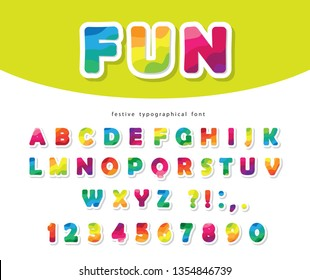 Modern colorful font. Bright paper cut out ABC letters and numbers. Trendy flexible alphabet. Vector