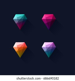 Modern colorful geometric abstract vector logo or element design. Best for identity, web applications, mobile and  logotypes. Simple flat style shape with long shadows.