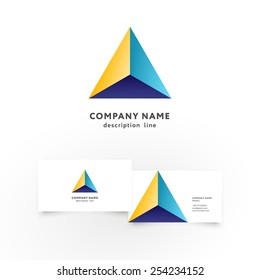 Modern colorful geometric shape icon design element with business card template. Best for identity and logotypes.