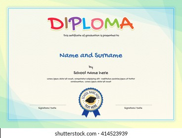 Modern and colorful kids diploma certificate template for kids or school children in vector