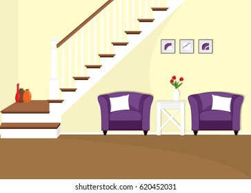 Modern colorful living room interior with stairs and armchairs. Vector illustration.