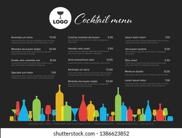 Modern colorful minimalistic cocktail menu template with three columns horizontal design layout and nice typography - dark version