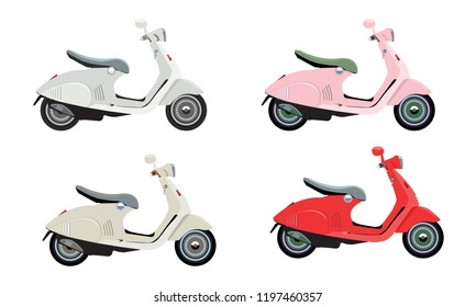 Modern colorful motorcycles or scooters with flat and solid color style. Vector illustration.